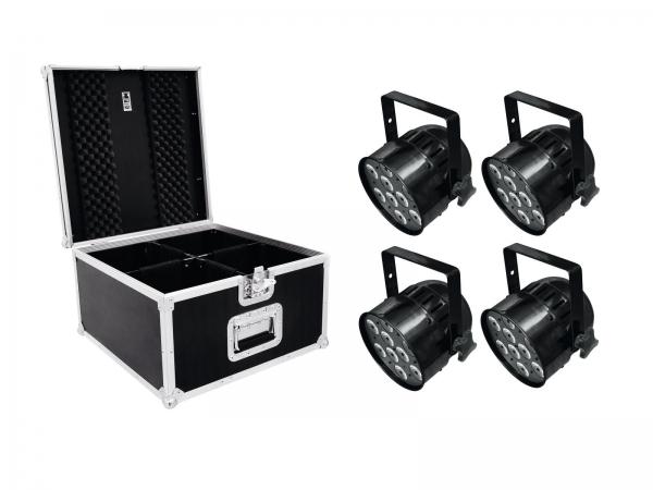 Eurolite Set 4 x LED Par-56 QCL Short sw + Case